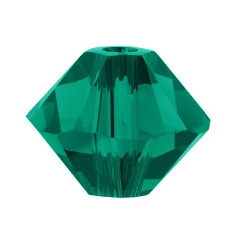 Swarovski Crystal, #5328 Bicone Beads 3mm, 25 Pieces, (Swarovski Emerald Green Crystal)