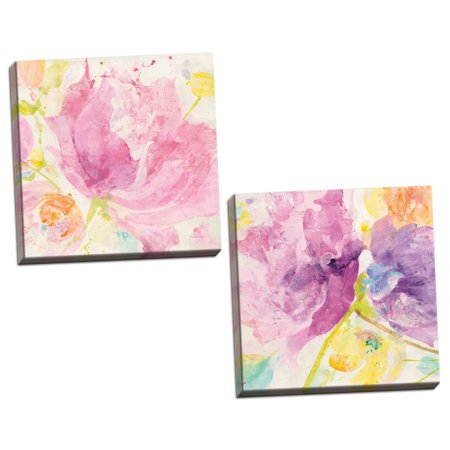 - Gango Home Decor Contemporary Spring Abstracts Florals I & II by Albena Hristova (Ready to Hang); Two 16x16in Hand-Stretched Canvases