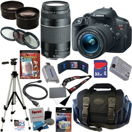 Canon EOS Rebel T5i 18.0 MP CMOS Digital Camera with EF-S 18-55mm f/3.5-5.6 IS STM Zoom Lens and EF 75-300mm f/4-5.6 III Telephoto Zoom Lens plus 32GB Deluxe Accessory Bundle