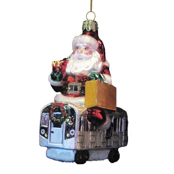 "Pack of 6 Santa Claus Classics NYC Subway Glass Christmas Ornaments 4.65"""