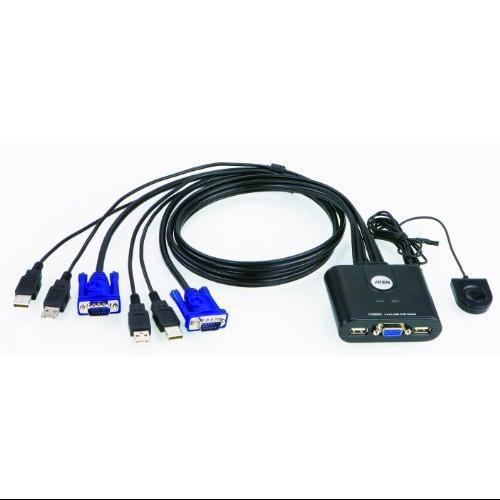 Aten CS22U 2-Port USB KVM Switch - 2 x 1 - 1 x Type A Mouse, 1 x Type A Keyboard, 2 x HD-15 Video
