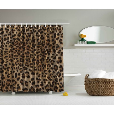 Sexy Leopard Tiger Animal Skin Print Shower Curtain Extra Long 84 Inch