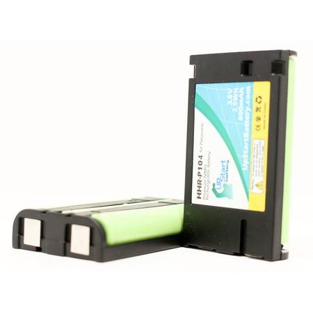 2x Pack - HHR-P104 Battery for Panasonic KX-TGA450B, KX-TG4500B, KX-TG4500,  KX-TGA650B, KX-TGA520M, KX-TG5632 Cordless Phones (800mAh, 3 6V, NI-MH) |