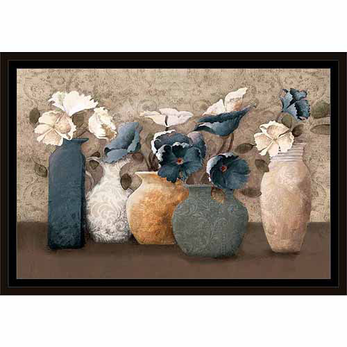 Textured Patterned Flower Pots Painting Blue, Framed Canvas Art by Pied Piper Creative by Circle Graphics