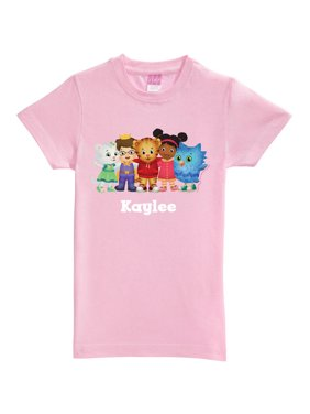 Personalized Daniel Tiger's Neighborhood Group Toddler Girl Pink Fitted Tee