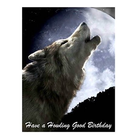Wolf Howling Good Birthday Edible Cake Topper Decoration for 1/4 sheet cake (Decoration For Cakes)