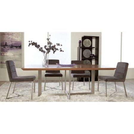 Eurostyle Euro Style Tosca 5 Walnut Dining Table Set Tosca Grey Chairs 186 Product Photo