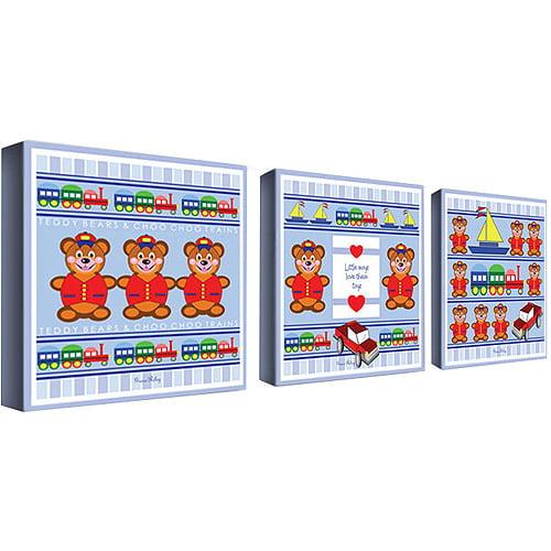 "Trademark Art ""Boys Love Toys"" Canvas Art by Grace Riley, 3-Piece Panel Set, 14x14"