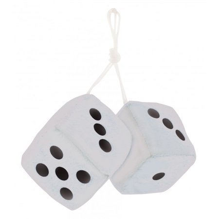 "3"" Fuzzy Dice White with Black Dots"
