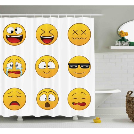 Emoji Shower Curtain Happy Smiley Angry Furious Sad Face