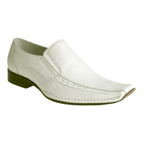 Stacy Adams TEMPLIN Boys White Leather Slip On Casual Dress Loafer Shoes