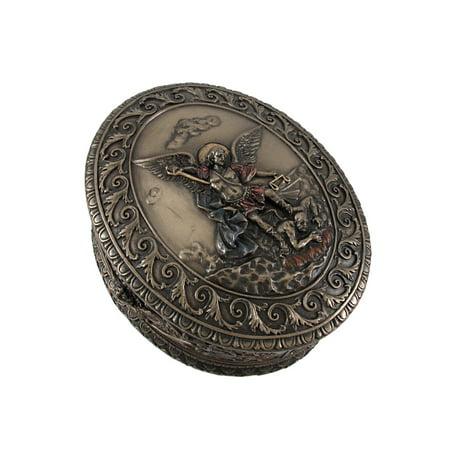 Bronze Bas Relief (Ornate Bronze St. Michael Bas Relief Oval Trinket)