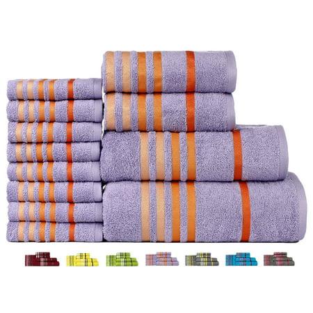 12 Piece Cotton Bath - Casa Copenhagen Exotic Cotton 475 GSM 12 Pieces Designer Bath, Hand & Washcloth Towels Gift Set - Dewberry