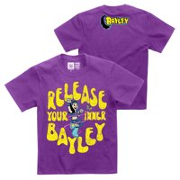 """Official WWE Authentic Bayley """"Release Your Inner Bayley"""" Youth  T-Shirt Dark Purple Small"""