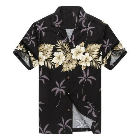 Made in Hawaii Men's Hawaiian Shirt Aloha Shirt Palm with Cross Hibiscus in Black (Palms Hawaiian Shirt)