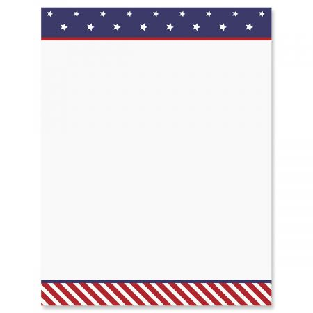 stars and stripes patriotic letter papers set of 25 american flag