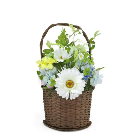 """14.5"""" Lakeside Blue & White Silk Mixed Flower Artificial Spring Floral Arrangement in Basket"""