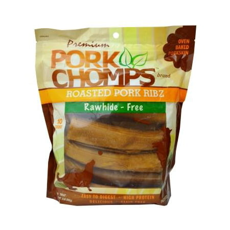 Pork Rawhide - Premium Pork Chomps Roasted Pork Ribs, Rawhide-Free, 10 Count