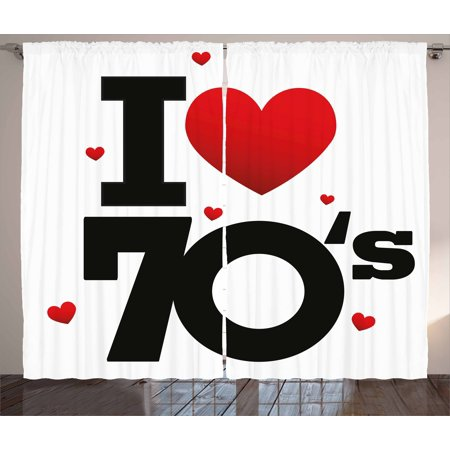 70s Party Decorations Curtains 2 Panels Set, The Seventies Icon with Big and Little Hearts Vintage Cute Typography, Window Drapes for Living Room Bedroom, 108W X 84L Inches, Red Black, by Ambesonne