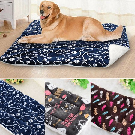 Self Warming Thermal Dog Cushion (Pet Dog Cat Soft Warm Self Heating Cushion Bed Rug Mattress Thermal Pad Blue S)