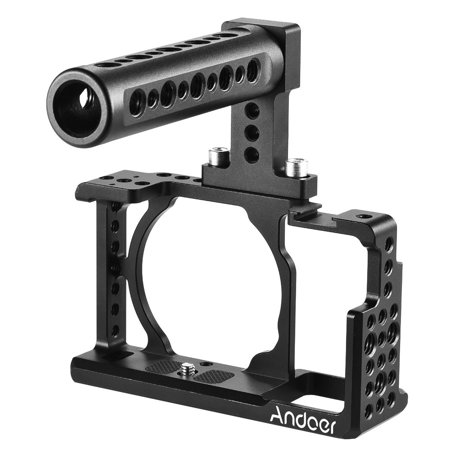 Andoer Protective Video Camera Cage + Top Handle Kit Aluminum Alloy Film Making System for Sony A6000 A6300 NEX7 ILDC to Mount Microphone Monitor Tripod Lighting
