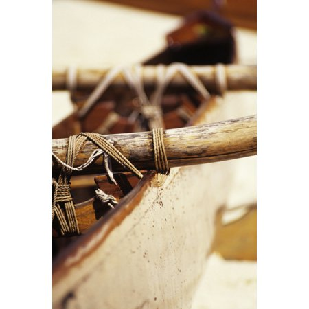 Old Wooden Outrigger Canoe Detail Of Aku Tightly Secured To Boat Canvas Art   Joss Descoteaux  Design Pics  11 X 17