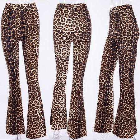 High Waist Leopard Print Pants Women´s Casual Wide Leg Flare Long Trouse