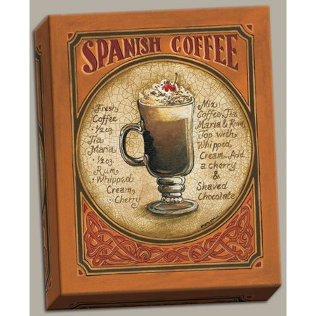 Canvas Spanish Coffee Recipe Classy Beer Ad Modern Sign Drink Vintage Bar Alcohol Cool Quality 16x20 (Halloween Drink Recipes Alcohol)