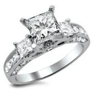 Noori Collection Noori 14k White Gold 1 7/10ct TDW 3-stone Princess-cut Diamond Engagement Ring