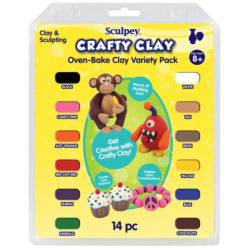 Sculpey Crafty Clay Oven Bake Clay Variety Pack, 14-Pack