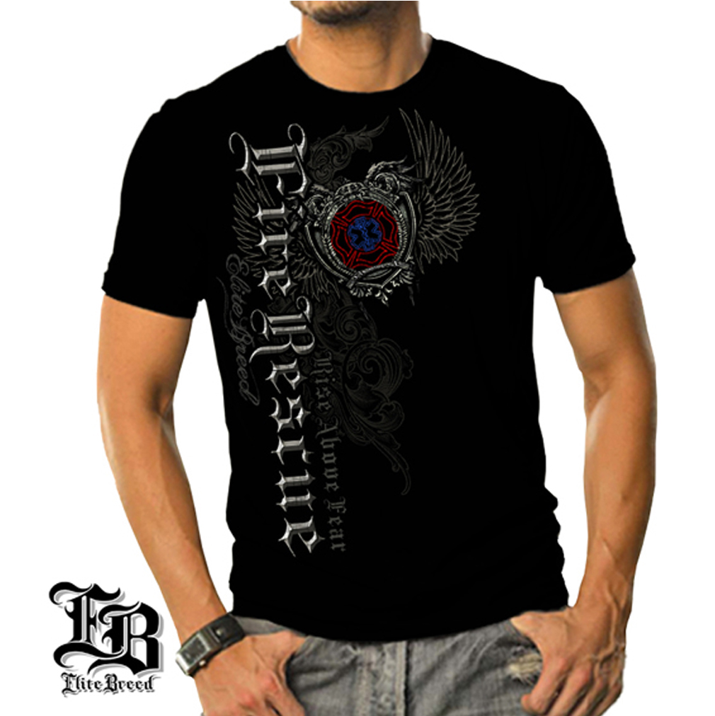 Cotton Elite Breed Fire Rescue Graphic T-Shirt