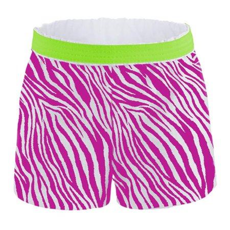 Girls Zebra 100 Cotton Pop Shorts, Pink Zebra & Lime - Extra (Bright Lime Zebra)