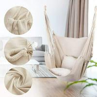 Novashion Hammock Chair Swing, 330 lbs Weight Capacity for Garden Bedroom Indoor Outdoor, Beige