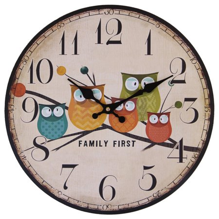Children's Room Wall Clock, 12-Inch Coolmade Painted Owls Animated Cartoon Wood Clock Bedroom Nursery Cute Style Silent Family Decoration Wall -