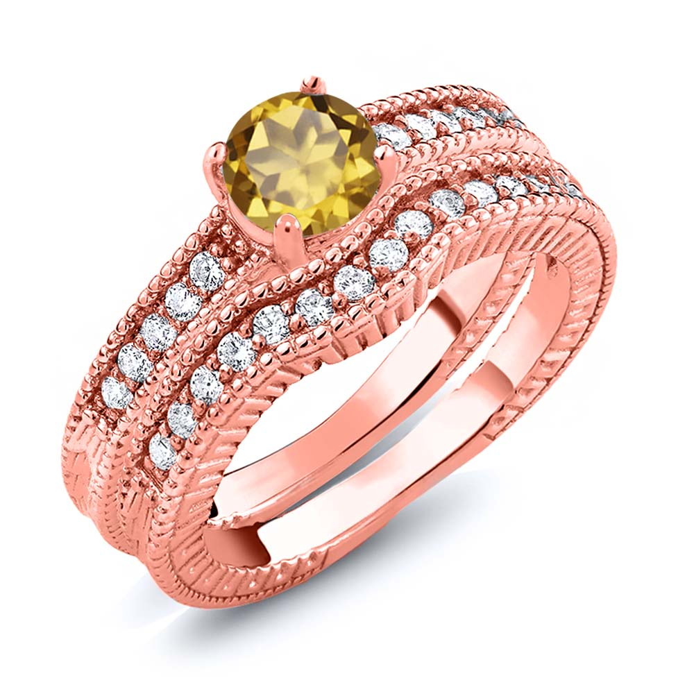1.15 Ct Round Champagne Quartz 18K Rose Gold Plated Silver Ring
