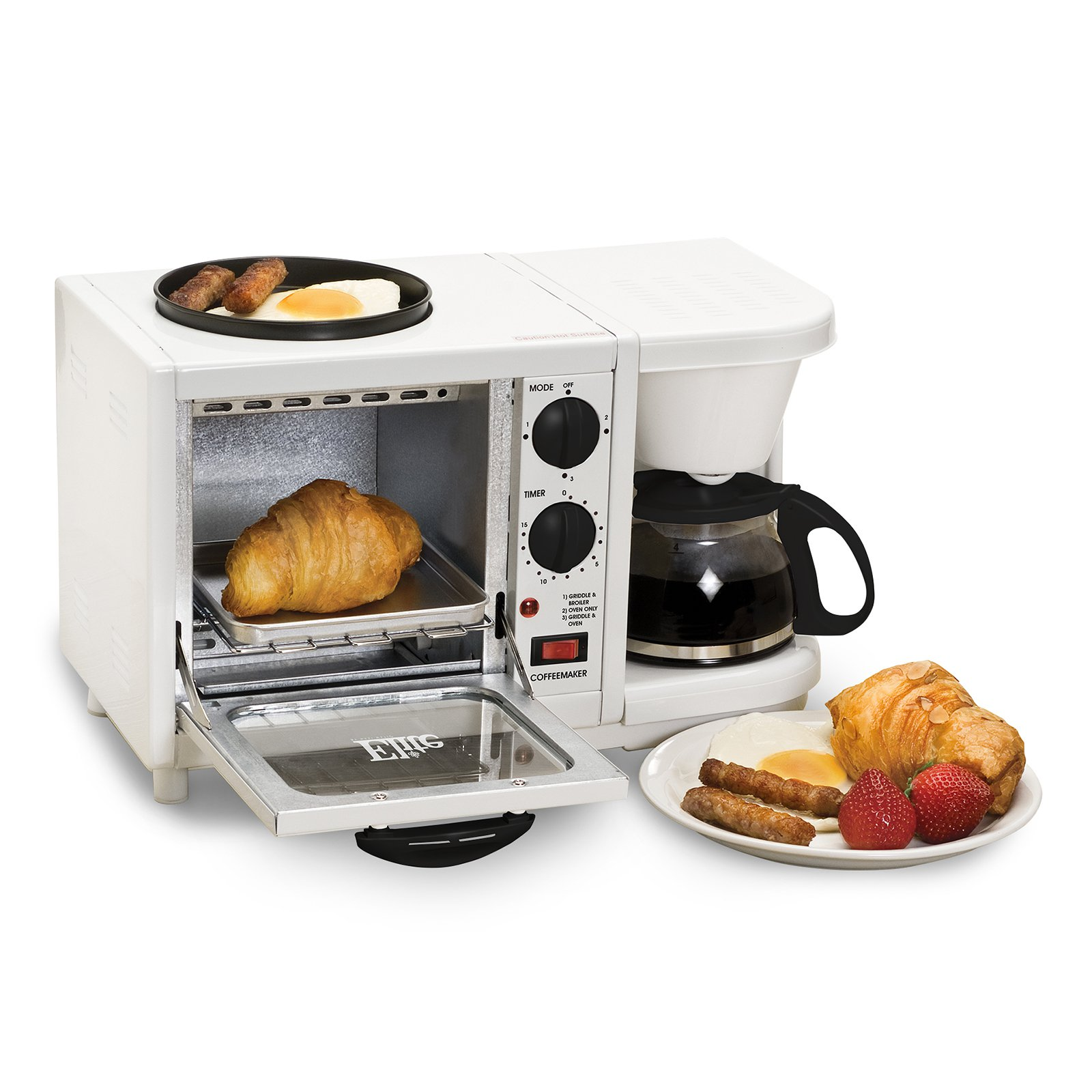 Elite Cuisine EBK-200 3-in-1 Multifunction Breakfast Center, White