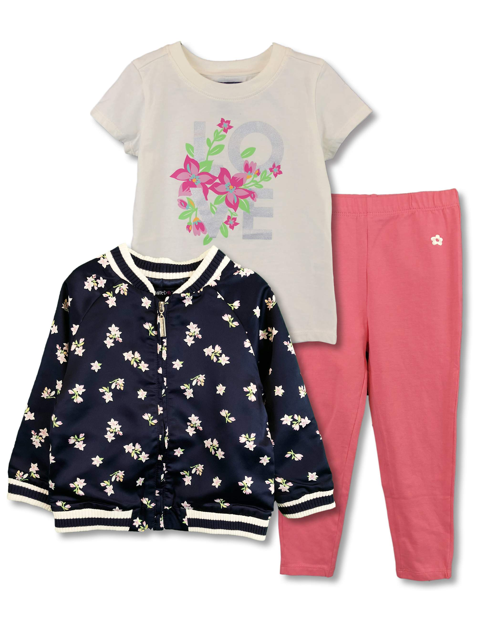 Satin Jacket, Floral T-Shirt and Leggings, 3pc Outfit Set (Toddler Girls)