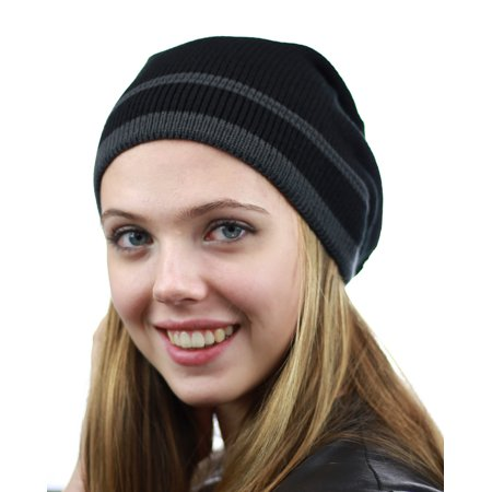 NYfashion101 Trendy Baggy Slouchy & Comfort Knitted Daily Beanie Hat w/Stripe Black/Gray
