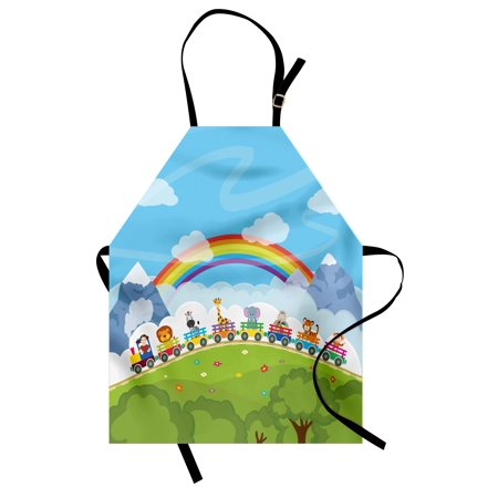 Train Mountain Railroad - Nursery Apron Cartoon Railway Train with Various Animals and a Rainbow Mountains Clouds Trees, Unisex Kitchen Bib Apron with Adjustable Neck for Cooking Baking Gardening, Multicolor, by Ambesonne