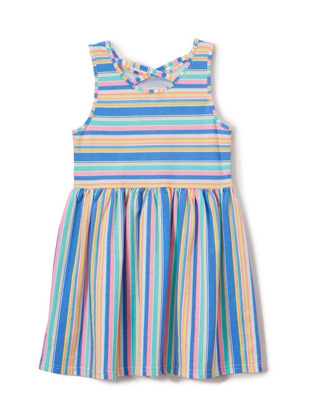 Cross Back Rainbow Striped Dress (Toddler Girls)