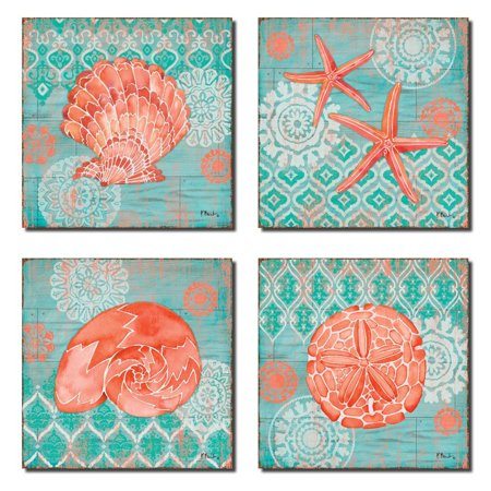 4 Lovely Teal and Coral Watercolor-Style Ocean Seashell Sand Dollar and Star Fish Collage Poster Prints; Nautical Decor; Four 8x8in Poster Prints ()