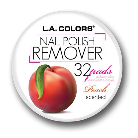 LA Colors Scented Nail Polish Remover Pads, Peach, 32 Ct