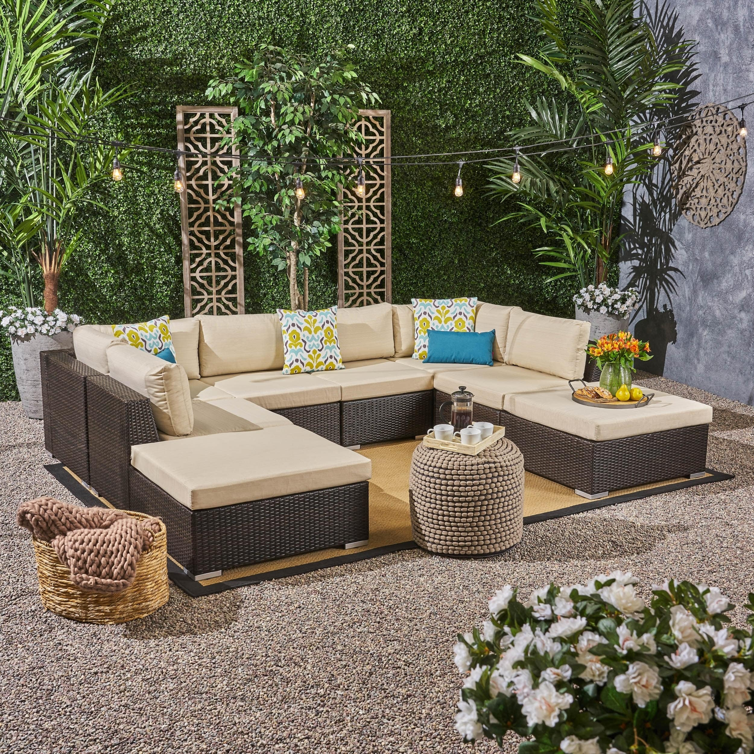 Christopher Knight Home Santa Rosa Outdoor 6 Seater Wicker Sofa Set with Aluminum Frame by