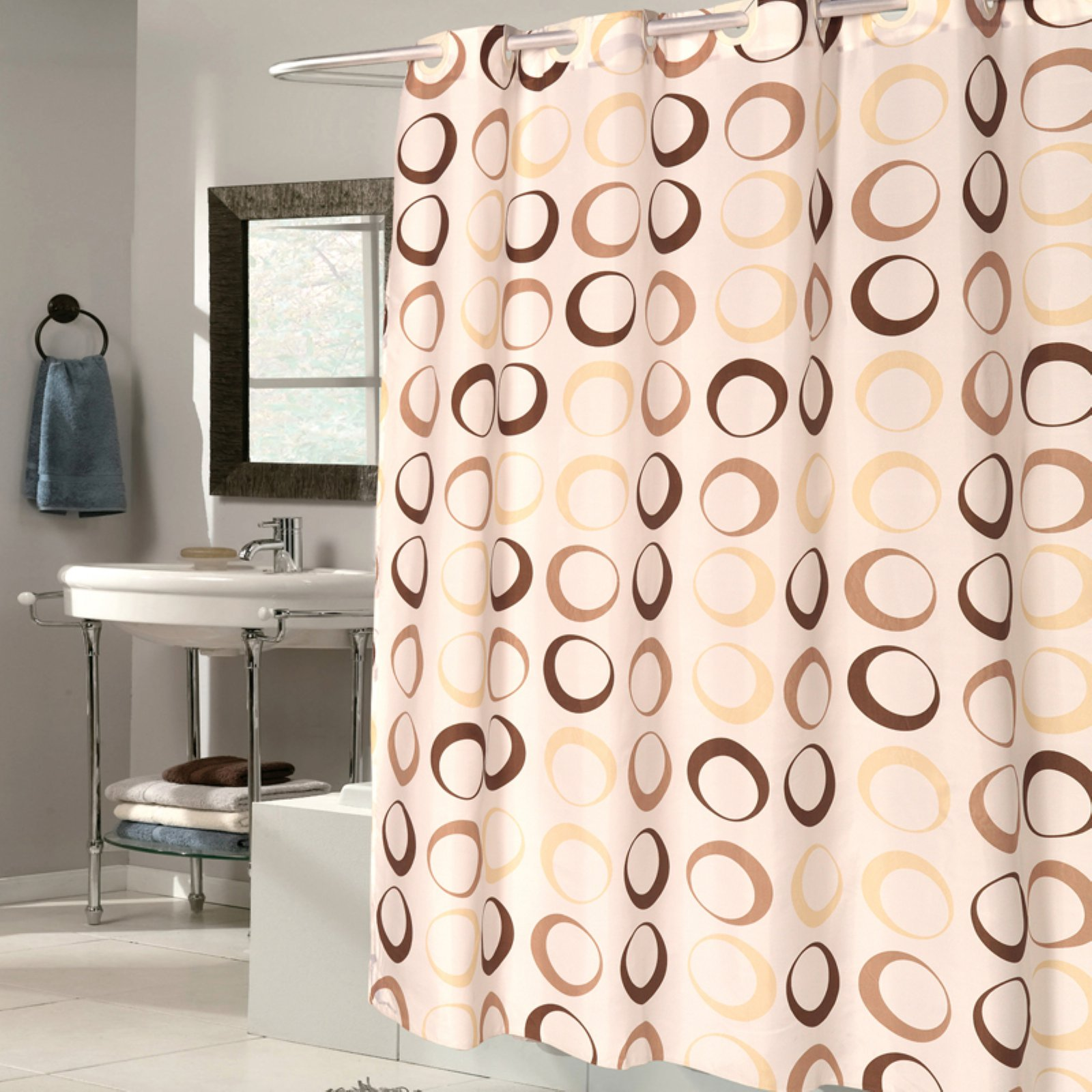 Sweet Home Collection EZ On 100% EVA Brown Circles Hookless Shower Curtain