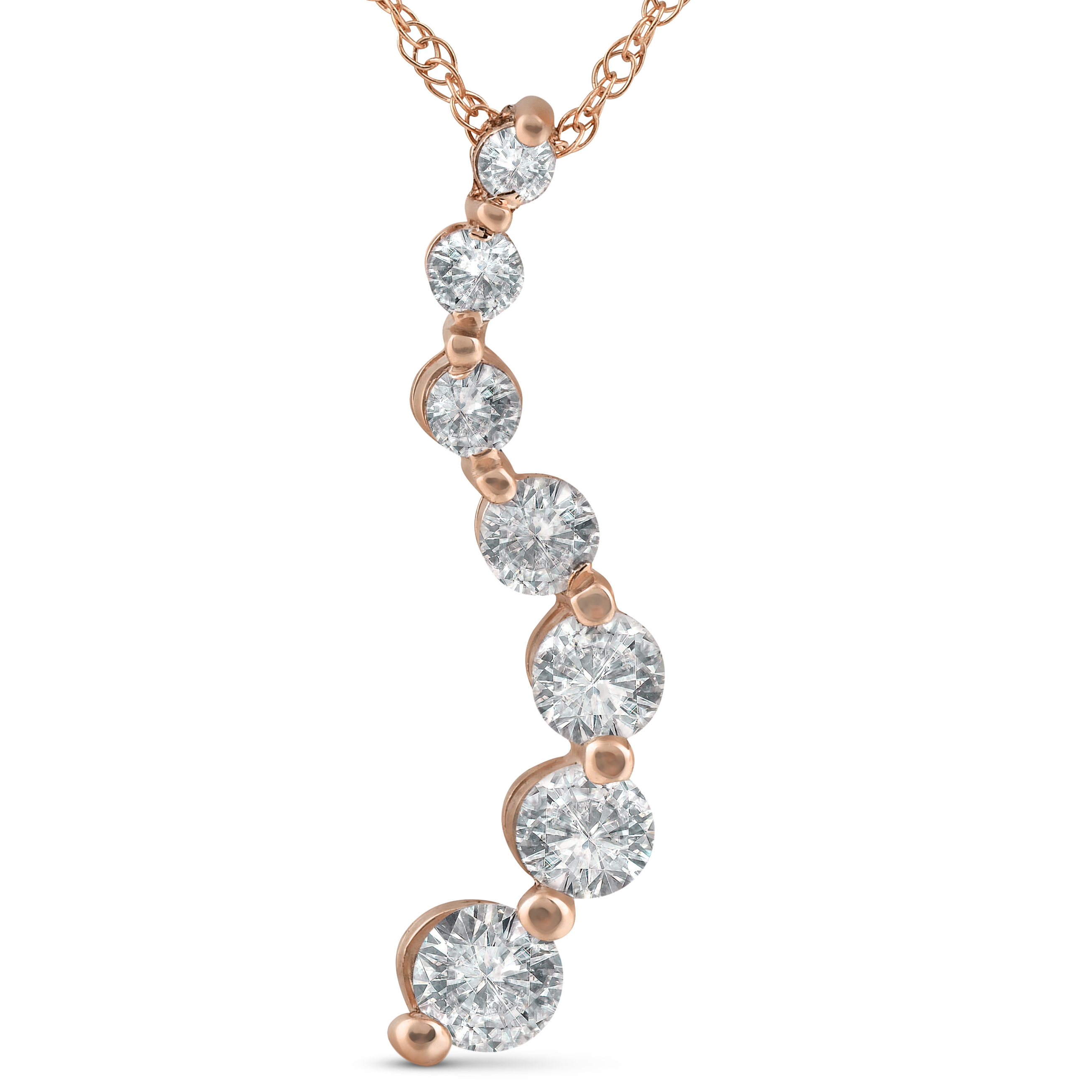 1 ct TDW Diamond Journey Pendant 14k Rose Gold - image 2 de 2