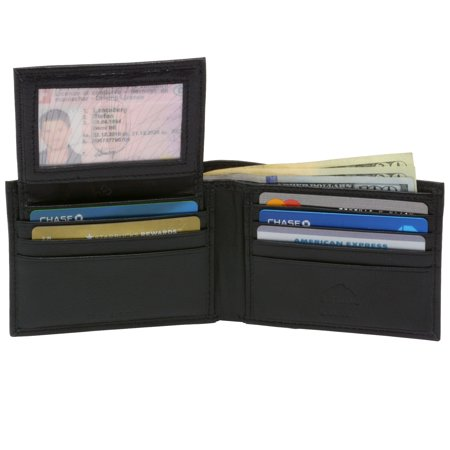 Alpine Swiss Mens Wallet Genuine Leather Removable ID Card Case Bifold Passcase Mens Leather Checkbook Covers
