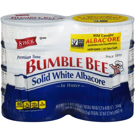 Reversible Bumble Bee ((8 Cans) Bumble Bee Solid White Albacore Tuna in Water, 5oz, High Protein Food and Snacks)