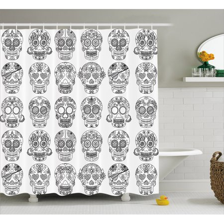 Mexican Shower Curtain Latin American Day Of The Dead Skull Designs With Floral Inspirations Celebration