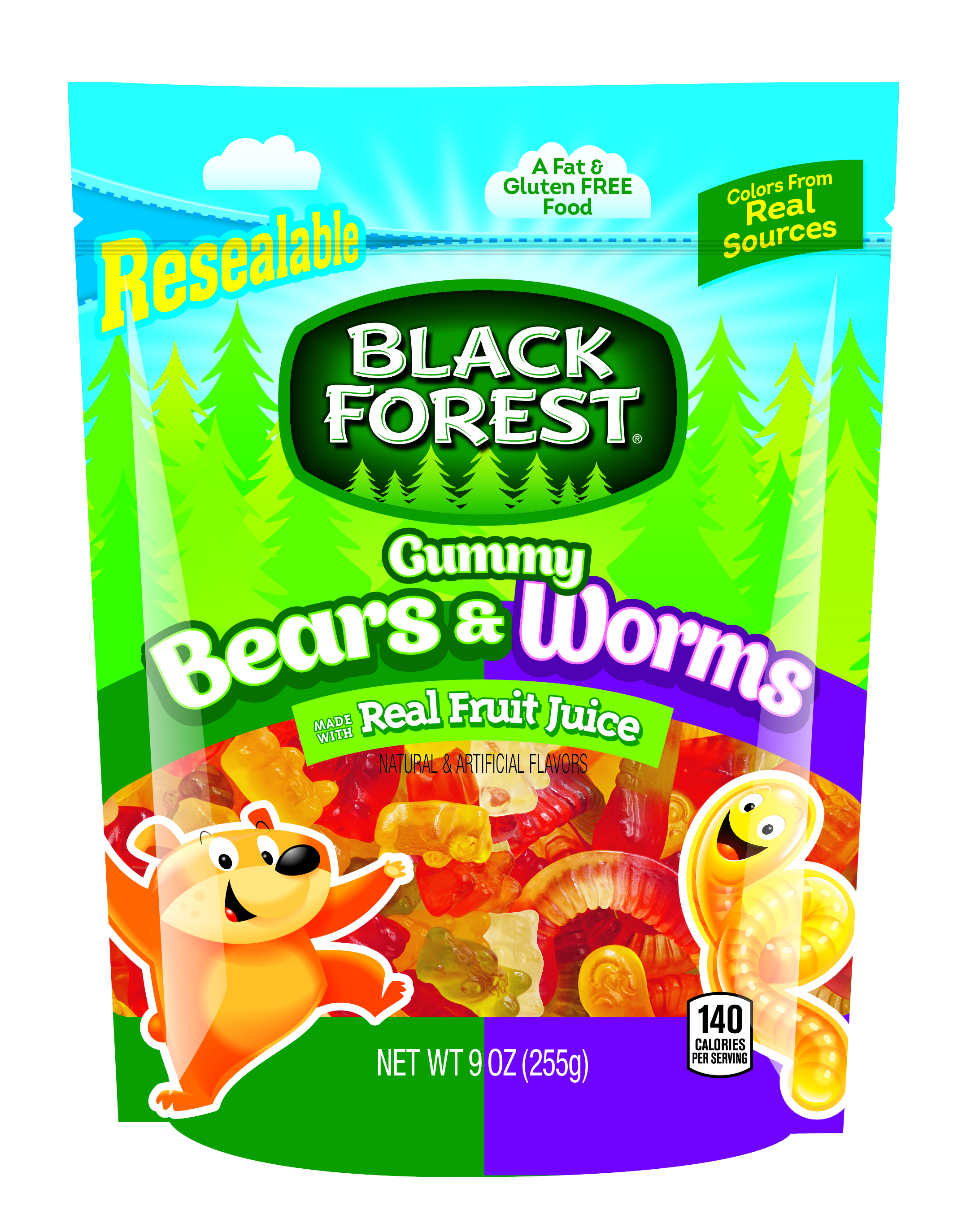 Black Forest Gummy Bears and Worms Candy, 9 Ounce Bag by FERRARA CANDY COMPANY