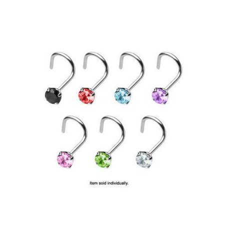 18g Bezel Set - Nose Rings Screw Body Jewelry with Prong Set CZ Gem 18g